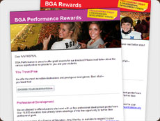Series of email templates with banners showing students enjoying college bowl games