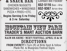 Bluegrass Festival newspaper advertisement using wood block and vintage typography, the edges are torn