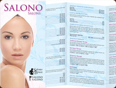 Salono Bruce brochure with a woman wrapped in a towel and panels of services